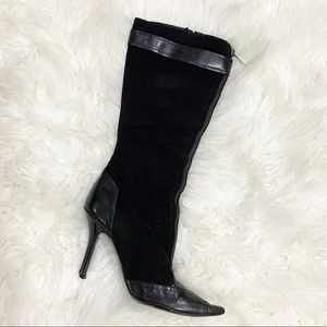 1 Dior black suede leather zipper 1 single boot